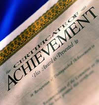 Photo of a certificate of achievement.